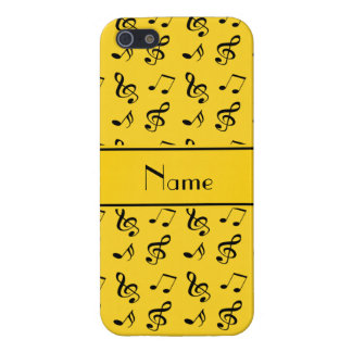 Personalized name yellow music notes cover for iPhone 5