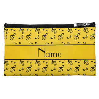 Personalized name yellow music notes makeup bag