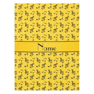 Personalized name yellow music notes tablecloth