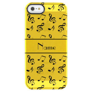 Personalized name yellow music notes uncommon clearly™ deflector iPhone 5 case