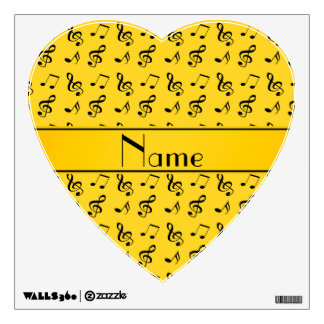 Personalized name yellow music notes wall decal
