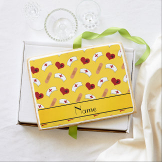Personalized name yellow nurse pattern jumbo cookie