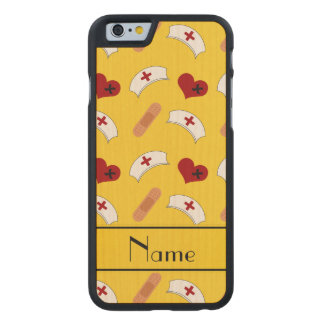 Personalized name yellow nurse pattern carved® maple iPhone 6 case