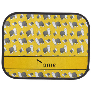 Personalized name yellow Old English Sheepdog dogs Car Mat