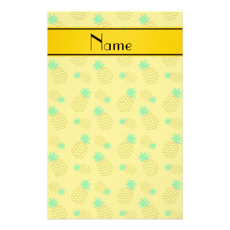 Personalized name yellow on yellow pineapples stationery paper