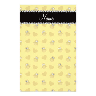 Personalized name yellow owl hearts customized stationery