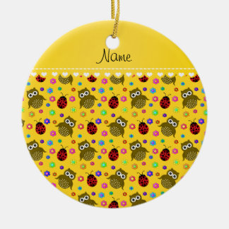 Personalized name yellow owls flowers ladybugs ceramic ornament