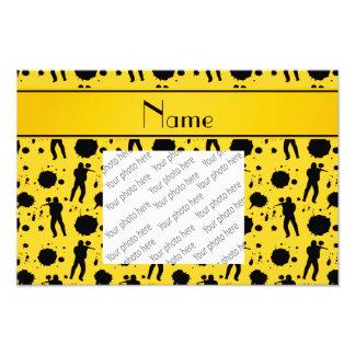 Personalized name yellow paintball pattern photo print