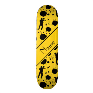 Personalized name yellow paintball pattern skate decks