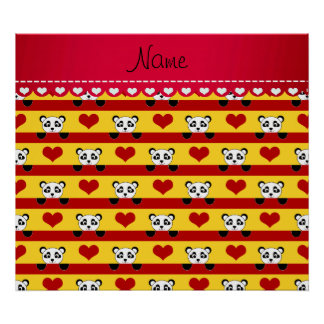 Personalized name yellow panda red heart stripes poster