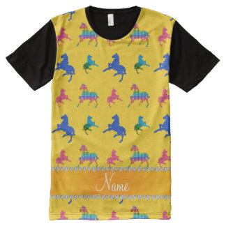 Personalized name yellow patterned horses All-Over print t-shirt
