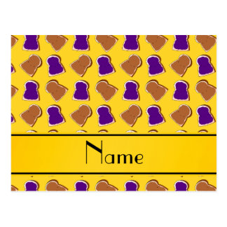 Personalized name yellow peanut butter jelly postcard