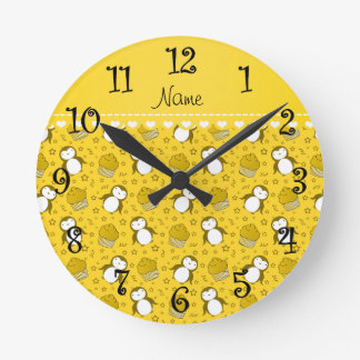 Personalized name yellow penguins cupcakes stars round clock