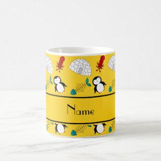 Personalized name yellow penguins igloo fish squid coffee mug