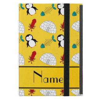 Personalized name yellow penguins igloo fish squid iPad mini case