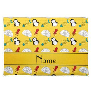 Personalized name yellow penguins igloo fish squid placemat