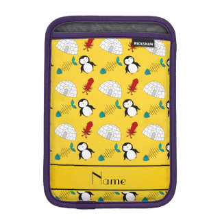 Personalized name yellow penguins igloo fish squid sleeve for iPad mini
