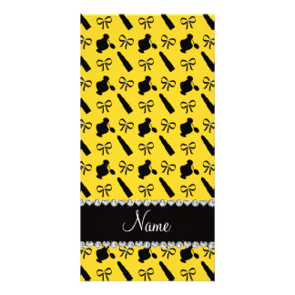 Personalized name yellow perfume lipstick bows photo card