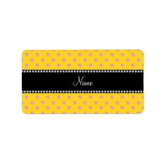 Personalized name Yellow pink diamonds Custom Address Labels