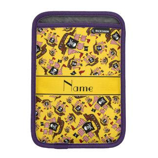 Personalized name yellow pirate ships iPad mini sleeve