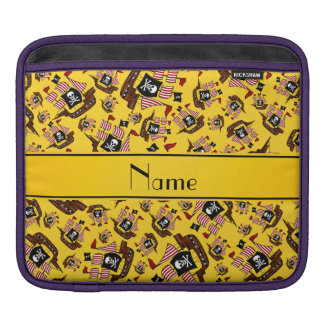 Personalized name yellow pirate ships iPad sleeve