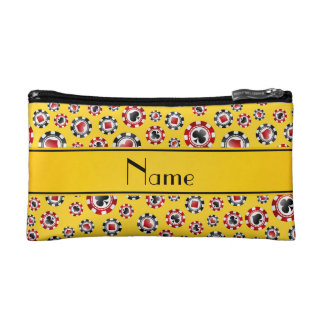 Personalized name yellow poker chips makeup bag