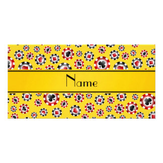 Personalized name yellow poker chips photo card