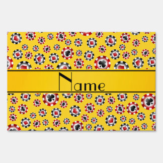 Personalized name yellow poker chips sign