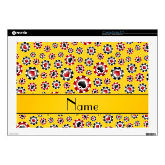 "Personalized name yellow poker chips 17"" laptop skin"