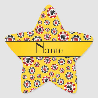 Personalized name yellow poker chips star sticker