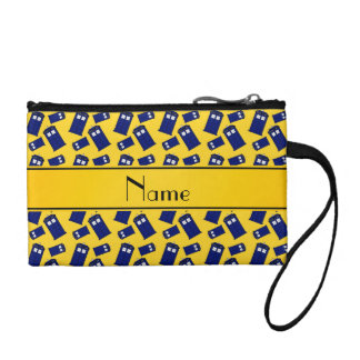 Personalized name yellow police box change purse