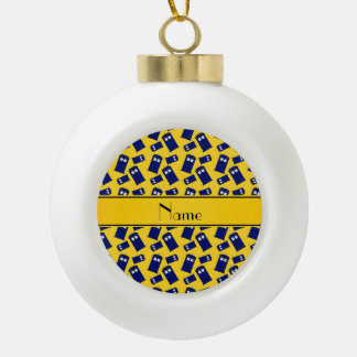 Personalized name yellow police box ornaments