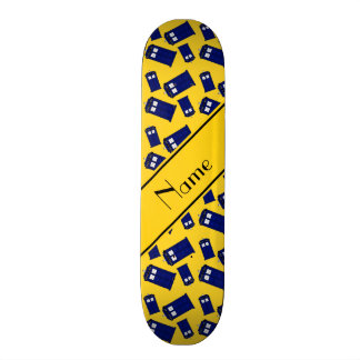 Personalized name yellow police box skate boards