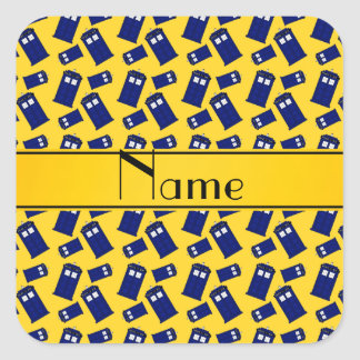 Personalized name yellow police box square sticker