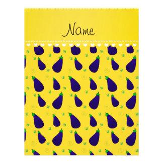 """Personalized name yellow purple eggplants 8.5"""" x 11"""" flyer"""
