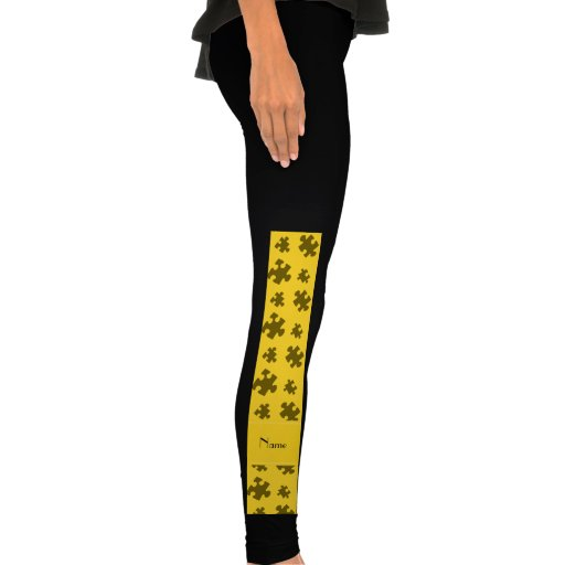 Personalized name yellow puzzle legging tights
