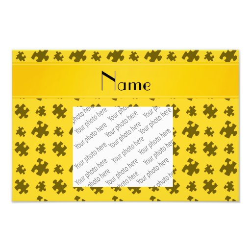 Personalized name yellow puzzle photograph