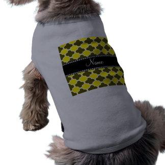 Personalized name yellow quatrefoil pattern dog t-shirt