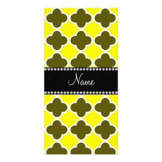 Personalized name yellow quatrefoil pattern photo card