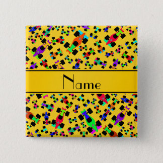 Personalized name yellow race car pattern pinback button
