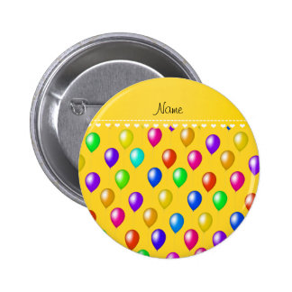 Personalized name yellow rainbow birthday balloons 2 inch round button