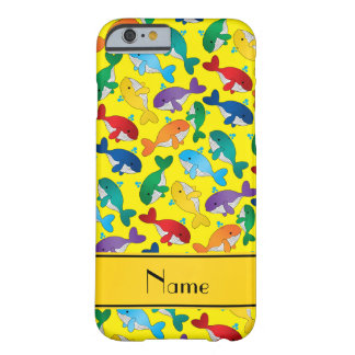 Personalized name yellow rainbow blue whales barely there iPhone 6 case