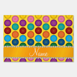 Personalized name yellow rainbow buttons pattern yard sign