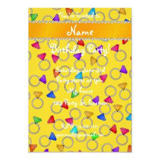 Personalized name yellow rainbow diamond rings 5x7 paper invitation card