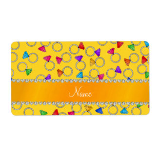 Personalized name yellow rainbow diamond rings shipping label