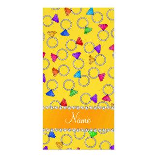 Personalized name yellow rainbow diamond rings photo card