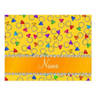 Personalized name yellow rainbow diamond rings postcard