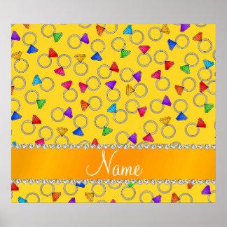 Personalized name yellow rainbow diamond rings poster