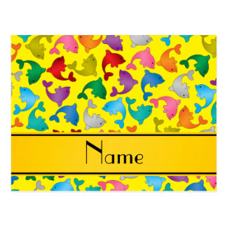 Personalized name yellow rainbow dolphins postcard