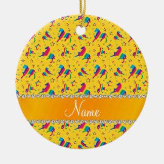 Personalized name yellow rainbow horses stars ceramic ornament